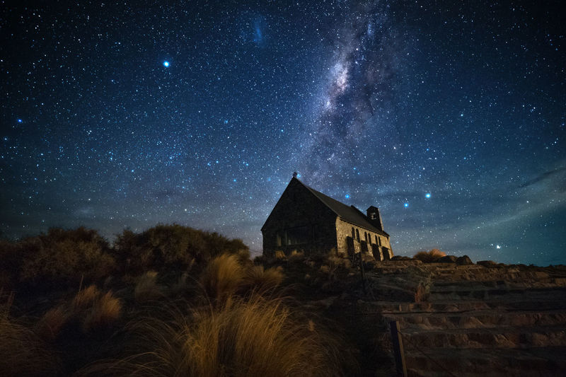 Church of the Good Shepherd 牧羊人教堂 II Lake Tekapo Church Of The Good Shepherd 牧羊人教堂 Lake Tekapo Night Star - Space Sky Architecture Astronomy Space Built Structure Building Exterior Galaxy Building No People Nature Scenics - Nature House Star Beauty In Nature Star Field Milky Way Plant Tree New Zealand