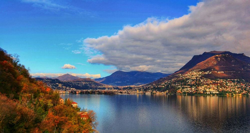 Lugano, Switzerland Lake View Clouds And Sky Water Reflections Traveling Street Photography Landscape_photography Tree_collection  Nature Relaxing
