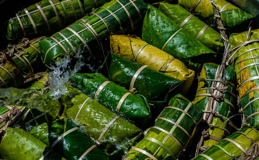 Full frame shot of food wrapped in leaves