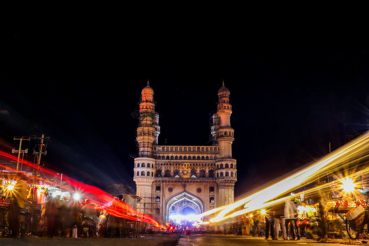 28.03.2018 Long Exposure Photography In Front Of Charminar Light Effect Long Exposure darkness and light Charminar Hydrabad Night Illuminated Architecture Travel Destinations Built Structure Celebration Christmas City Cityscape Arts Culture And Entertainment Nightlife Outdoors Sky