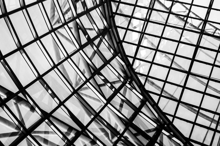 Die Schnittstelle ~ The Architect - 2018 EyeEm Awards Architecture Backgrounds Built Structure Ceiling Close-up Day Design Full Frame Geometric Shape Glass - Material Grid Indoors  Low Angle View Metal Modern No People Pattern Repetition Shape Skylight Sunlight