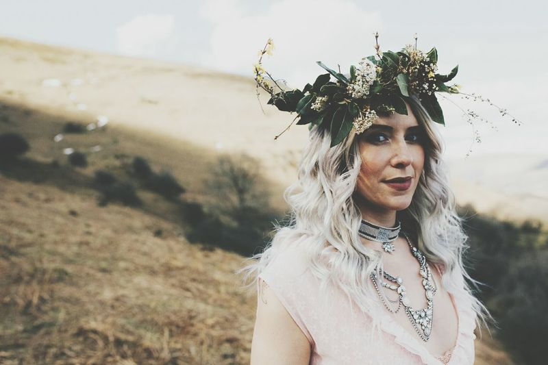 Lauraloophotography EyeEm Best Shots EyeEm Selects Camelot Vintage Flower Crown Model Vintage Fun Portrait Smiling Happiness Beautiful Woman Rural Scene Headshot Motion Boho Headdress Front View Tousled Hair Wearing Flowers Natural Beauty