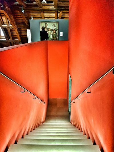 Indoors  Steps And Staircases Architectural Feature Red Art Museum Augustinermuseum Freiburg