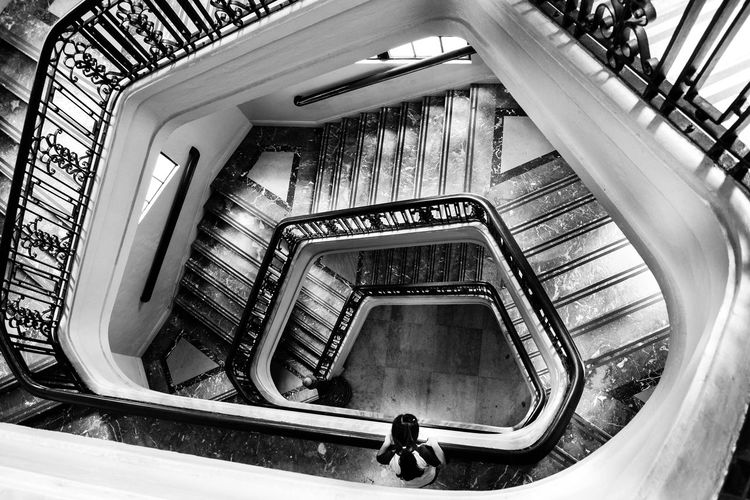 Look down. Streetphotography Street Streetphoto_bw Bnw Bnw_collection Bnw_society Bnw_captures Bnw_friday_eyeemchallenge Bnw_worldwide #bnw_worldwide Bnw_life Bnw_planet #manila Built Structure Stairs Indoors  Spiral Staircase One Person Spiral Stairs Hand Rail Full Length Adults Only People Real People Adult One Man Only Visual Creativity