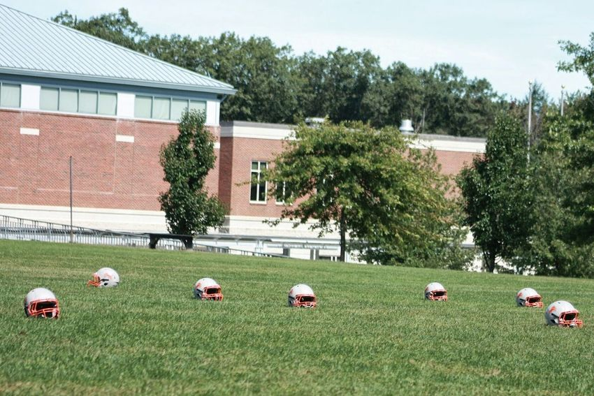 Beautifully Organized No People Outdoors Day Grass Football Helmets