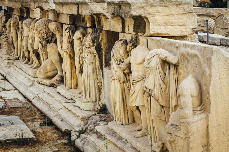 Sculptures On Wall At Theatre Of Dionysus