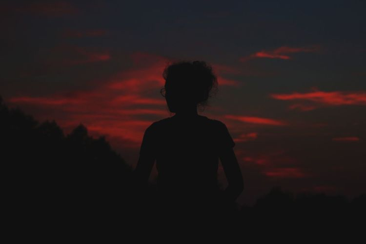 Silhouette Sunset Adult One Person Sky People Only Women Cloud - Sky Nature One Woman Only Adults Only Night Outdoors Women Tree Beauty In Nature Young Adult