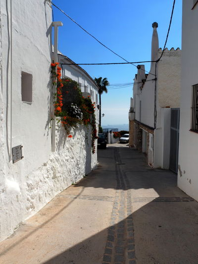 Architecture Building Exterior Built Structure City Building Street Direction The Way Forward Sunlight Sky Nature Day No People Residential District Shadow Outdoors Cable House Wall - Building Feature Footpath Alley Mijas Pueblo SPAIN Andalusien
