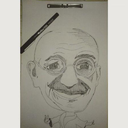 Mahatma Gandhi. 🎨☺ Gandhi Art Sketh Pluma Pen Plume Artline Dibujo Proyecto