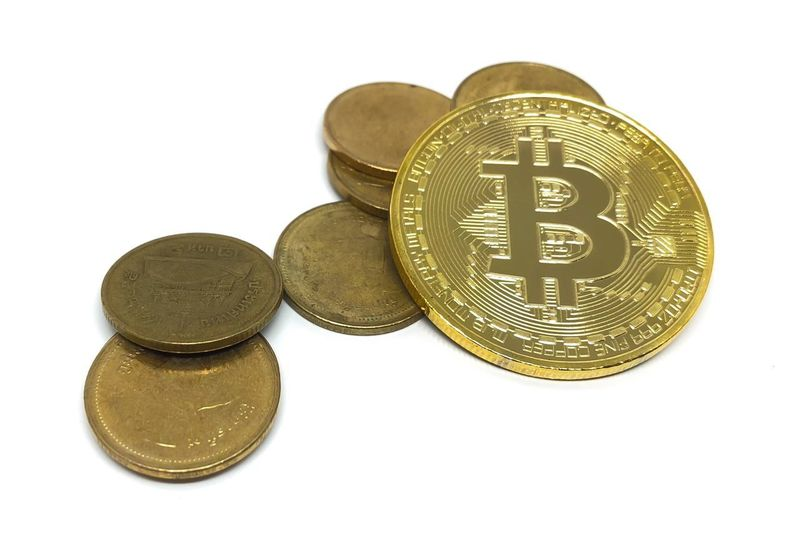 Bitcoin Business Close-up Coin Communication Cryptocurrency Currency Cut Out Finance Gold Colored Group Of Objects Indoors  Investment Metal No People Number Savings Still Life Studio Shot Text Thaicoins Wealth White Background