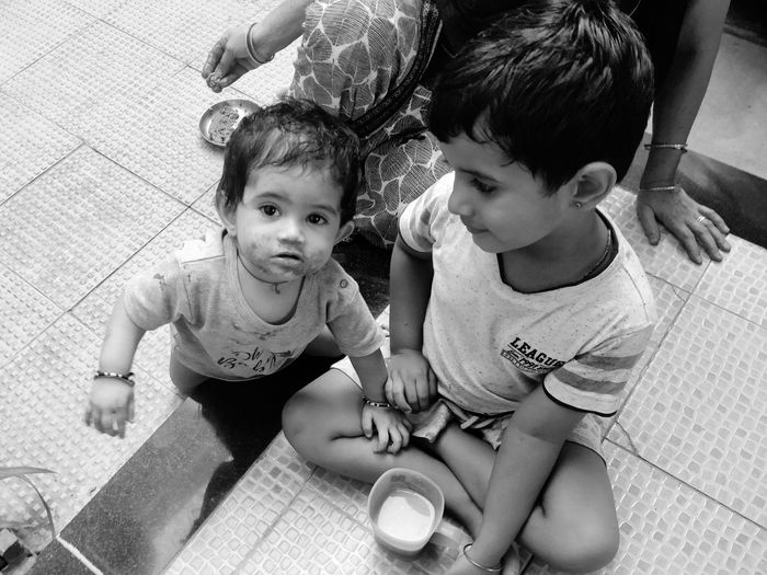 black and white Black And White Child Childhood Togetherness Sitting Full Length Bonding Baby Playing Babyhood A New Beginning