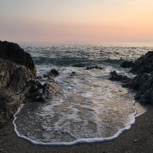 Sea Horizon Over Water Tranquil Scene Beauty In Nature Sunset Beach Outdoors