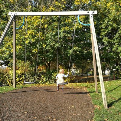 Lifestyles Outdoors Leisure Activity Real People Tree Day Nature One Person Swing Girl Autumn Bright Sunny Lonely