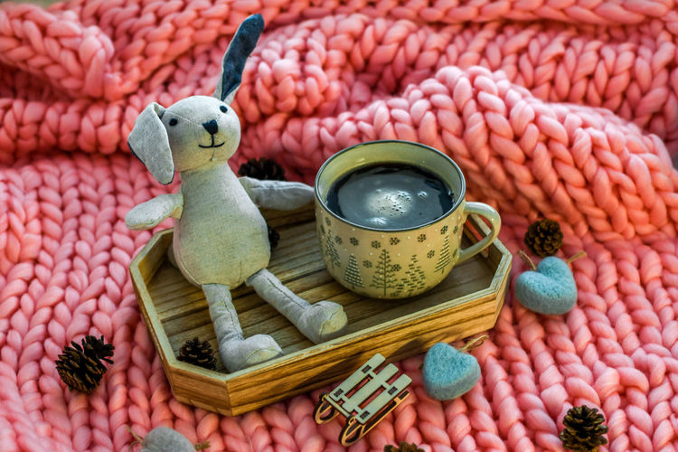 Animal Representation Food And Drink Stuffed Toy Representation Toy No People Animal Art And Craft Still Life Indoors  Food Large Group Of Objects Teddy Bear Animal Themes High Angle View Cup Container Day Creativity Freshness