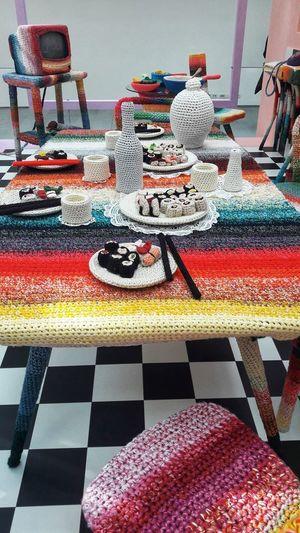 "Design installation Missoni ""Knitted home"" , Fuori Salone, Internation Design week Shushi Shushi Lover Knitting Knitted  Home Interior Interior Interior Design Design Design Week Milan Milan,Italy Missoni Handmade Multi Colored Close-up Mosaic Art Craft ArtWork Needlecraft Product Pastry"