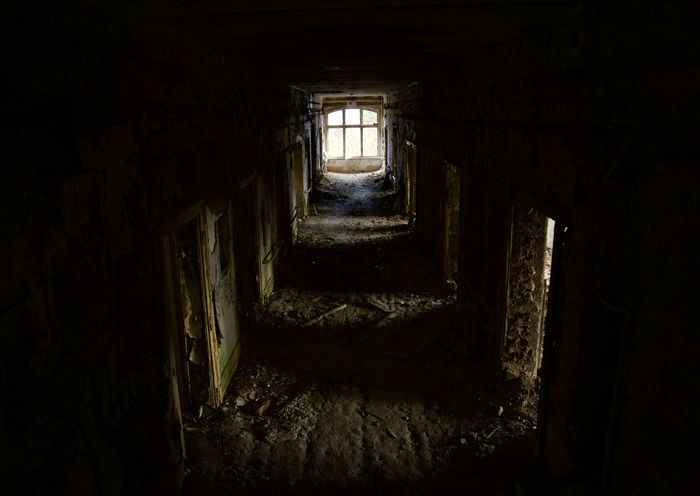 Abandoned Arcade Architecture Building Cellar Corridor Damaged Dark Dirt Dirty Door Entrance Fear Horror Indoors  No People Old Ruined Run-down Spooky Staircase