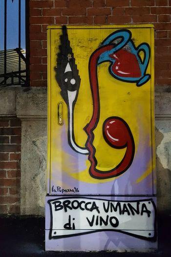 """""""Human Wine Pitcher"""" Streetart Brick Wall Yellow City No People Outdoors Close-up Day Brick Wall Graffiti Art Graffiti Street Art"""
