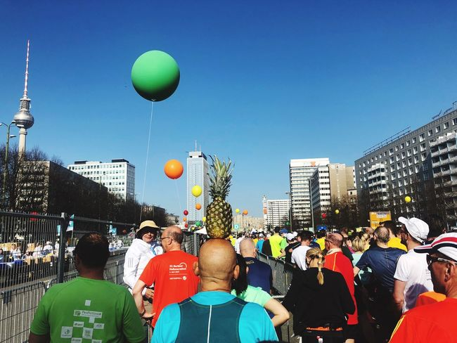 Ananas Start Half Marathon Runners Berlinhalf Large Group Of People Sky Crowd Group Of People Real People Clear Sky Architecture Built Structure Balloon Lifestyles Adult Men Building Exterior Day #FREIHEITBERLIN