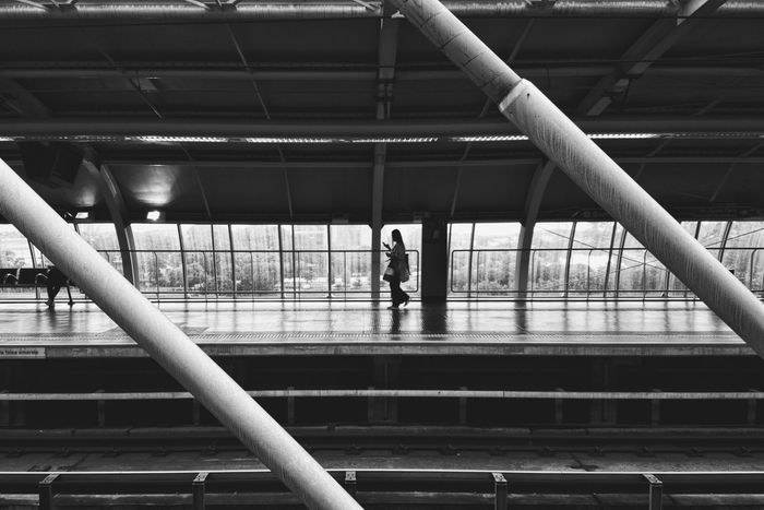 Blackandwhite Black And White Monochrome EyeEm Ready   Silhouette Lines Railing Bridge - Man Made Structure Architecture Built Structure People City Adults Only Indoors  Real People Adult One Person Day