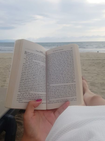 Human Hand Low Section Water Sea Beach Sand Human Leg Book Summer Women Book Cover Literature Page Personal Perspective Lined Paper Human Foot Shore Knowledge Author Textbook Publication Hardcover Book