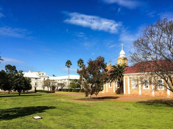 New Norcia Monastic Town Abbey Church Of The Holy Trinity Abbey Church Historical Building Place Of Worship Historic Architecture Western Australia New Norcia Benedictine Monastic Trees Australia Monastery Religious  Spiritual Building Exterior Outdoors Landscaped