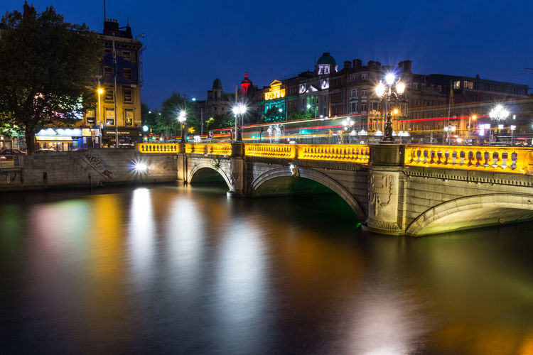 Dublin at night! Dublin Ireland Architecture Bridge - Man Made Structure Building Exterior Built Structure City Cityscapes Connection Illuminated Irland Light Trail Long Exposure Night No People Outdoors River Sky Transportation Water Waterfront Been There.