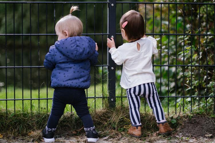 Full length rear view of children on fence