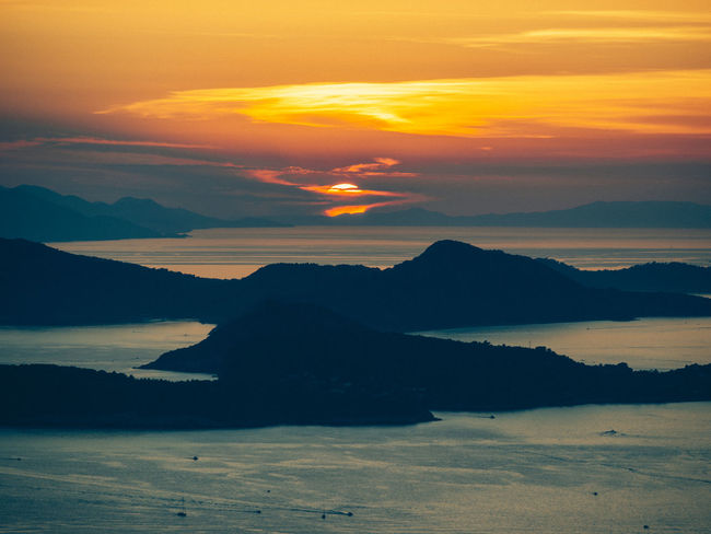 Croatia Beauty In Nature Cloud - Sky Dubrovnik Environment Idyllic Land Landscape Mountain Mountain Range Nature No People Non-urban Scene Orange Color Scenics - Nature Silhouette Sky Sunset Tranquil Scene Tranquility Water