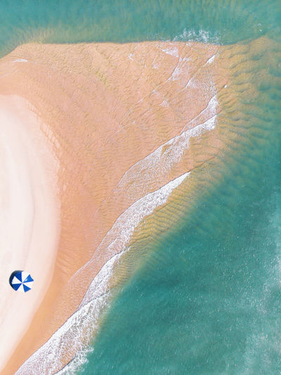 Aerial view of beach on sunny day