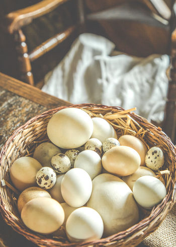 Basket of Chicken, Quail & Goose Eggs Chair Quail Eggs Sulgrave Manor Tudor Home Banbury, England Basket Chicken Eggs Close-up Day Egg Eggs Food Goose Eggs High Angle View History Indoors  Manor Manor House No People Selection Of Eggs Table Wicker Basket