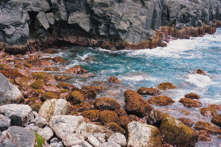 Processed with VSCO with j3 preset Rock Rock - Object Solid Water Sea Rock Formation Beauty In Nature Motion Nature Day Land Scenics - Nature Outdoors No People Beach Sport Wave Aquatic Sport Flowing Water Rocky Coastline Flowing