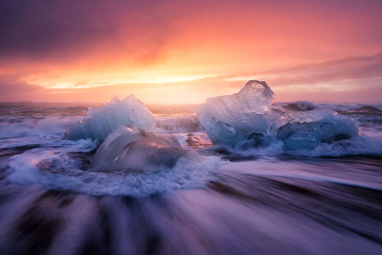 An incredible sunrise in Jokulsarlon (Iceland) Beauty In Nature Cold Temperature Glacier Iceberg Iceland_collection Jökulsárlón Landscape Nature No People Outdoors Sunrise Sunset The Great Outdoors - 2017 EyeEm Awards Tranquil Scene Tranquility Water