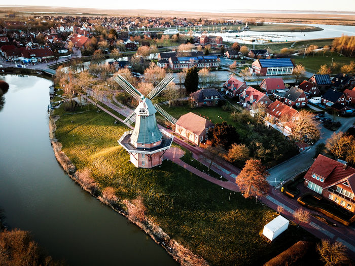 Architecture Building Exterior Built Structure High Angle View Building City Nature Day No People Outdoors Cityscape City River Greetsiel Sea Windmill