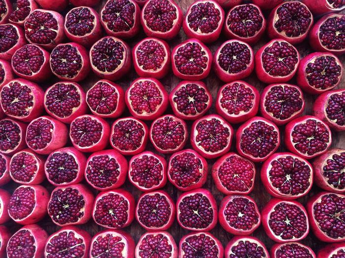 Full frame shot of pomegranates
