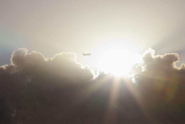 Sun Cloud - Sky Cloudscape Airplane Flying Air Vehicle Sunlight Sunbeam Plane Sky Landscape Sky Only