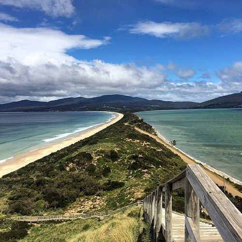 Brunyisland Tasmania Australia Truganini Lookout Sea Beach Travel Destinations Coastline Horizon Over Water Road Outdoors No People Park Vacations Scenics Beauty In Nature Nature Reserve Travel Panoramic Waterfront Coastline Landscape Nature Water Cloud - Sky Tranquility