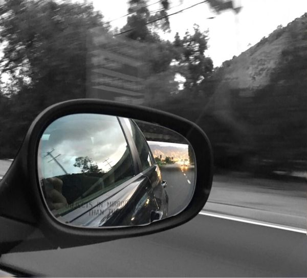 Car Side-view Mirror Hill Side Blur Southbound 5 Freeway The Chase Is On Los Angeles, California