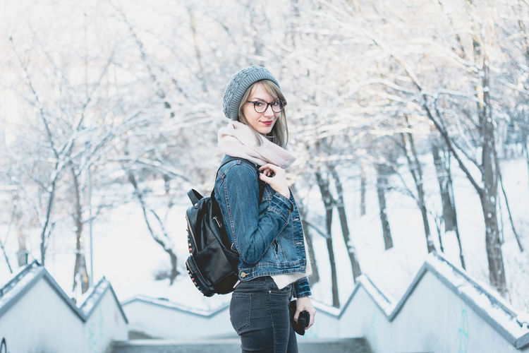 young glasses woman portrait in snow Winter Cold Temperature Snow Warm Clothing Only Women Adult One Woman Only Adults Only Young Adult Beautiful People Beauty One Person Fashion Women People Beautiful Woman Frozen One Young Woman Only Scarf Outdoors The Portraitist - 2018 EyeEm Awards Moments Of Happiness