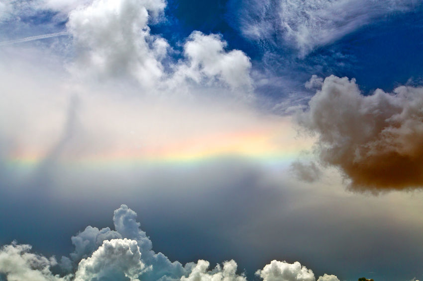 Horizontal Rainbow Beauty In Nature Cloud - Sky Cloudscape Day Multi Colored Nature No People Outdoors Scenics Sky Sky Only Tranquil Scene Tranquility