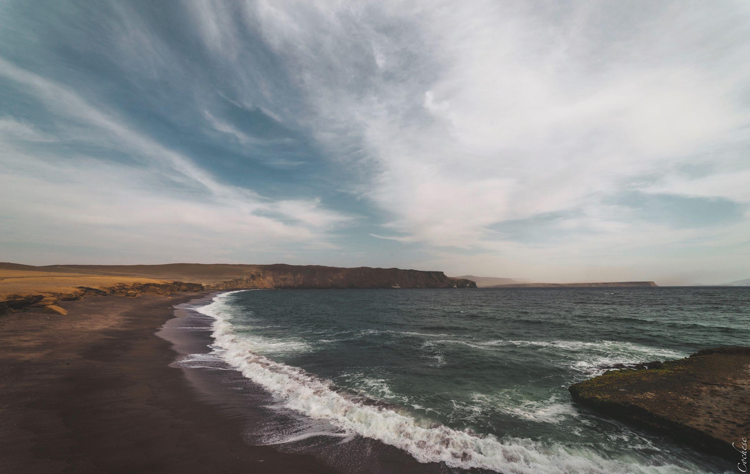 sea, water, sky, beach, beauty in nature, scenics - nature, land, cloud - sky, wave, sport, motion, aquatic sport, surfing, nature, horizon, horizon over water, tranquil scene, non-urban scene, outdoors