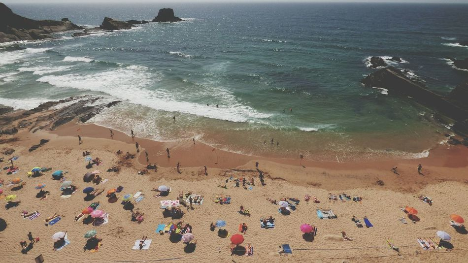 Beach Sand Sea Large Group Of People Water Wave Outdoors Vacations Day Horizon Over Water Scenics People Beauty In Nature Zambujeira Do Mar Summer Views Vacations Summer 2017 Rock Formation Sunny Summer Mix Yourself A Good Time