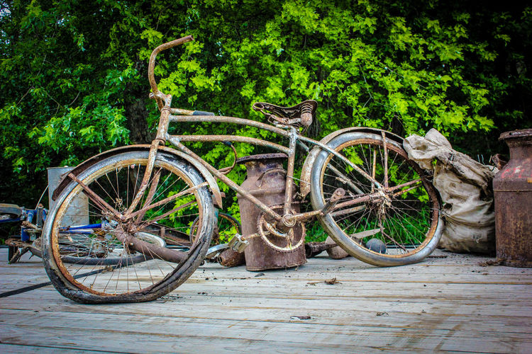 Abandoned rusty bicycles