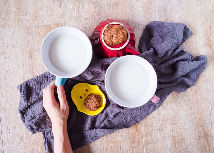 Breakfast Cookies Dessert Drinks Food And Beverages Food And Drink Bowl Ceramic Close-up Directly Above Freshness Healthy Eating Healthy Food High Angle View Indoors  Rice Milk Table