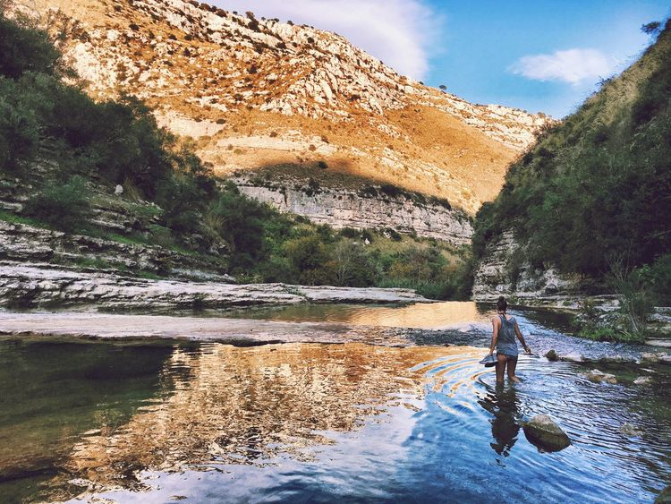 Sicily Mountain Water River Nature Sky Beauty In Nature Outdoors One Person Scenics Cloud - Sky Women Young Women Nature Walking Through Water Backpacking Go Higher