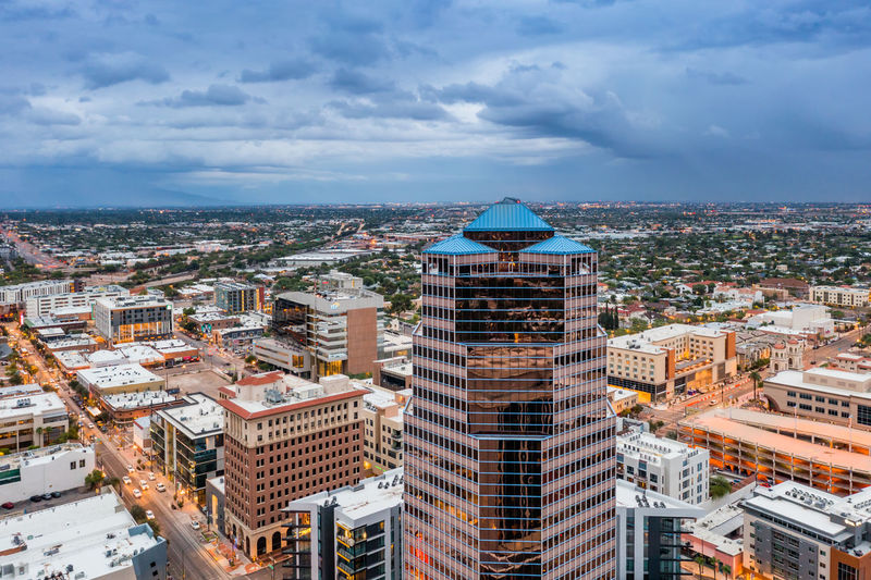 Norwest bank tower, the highest building in tucson, arizona. drone view.