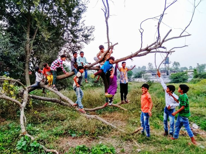 Childhood Child Playground Casual Clothing Girls Fun Boys Tree Togetherness Outdoors People Day Happiness Sky Climbing Nature Children Only Naturephotography EyeEmNewHere Kids Are Awesome India Colour Your Horizn