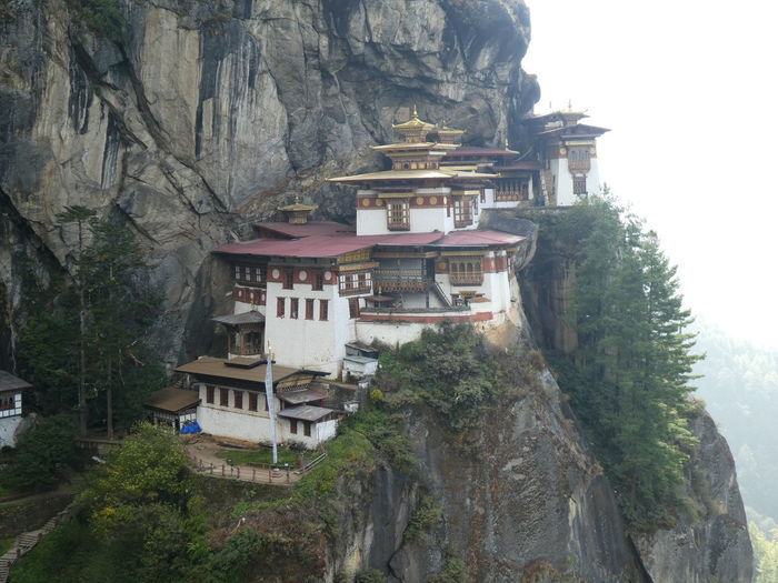 Panoramic view of buildings against mountain