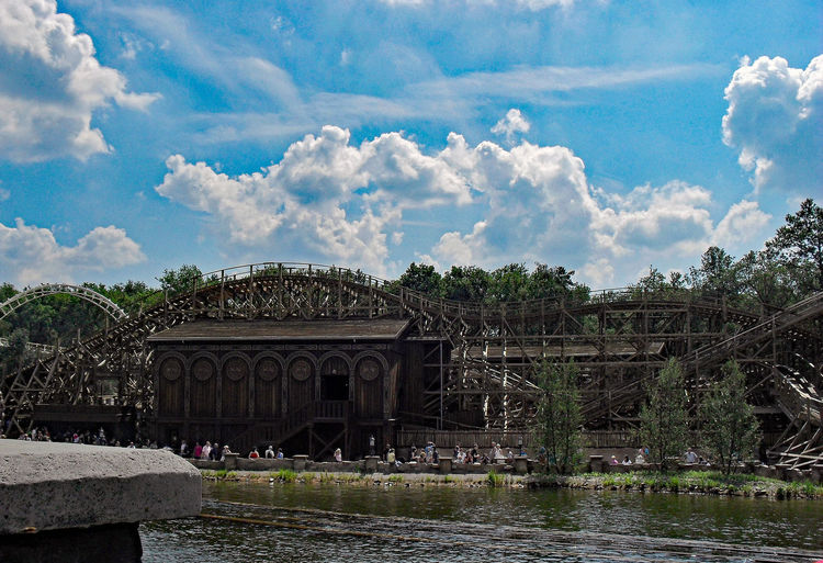 Efteling Blue Sky White Clouds Roller Coaster Family Day Themapark Atraction Park Rollercoaster Water Reflections Architecture Bridge Bridge - Man Made Structure Building Exterior Built Structure Cloud - Sky Connection Day Efteling Group Of People Nature Outdoors Plant Pretpark River Sky Speed Travel Tree Water Waterfront Wood House Go Higher