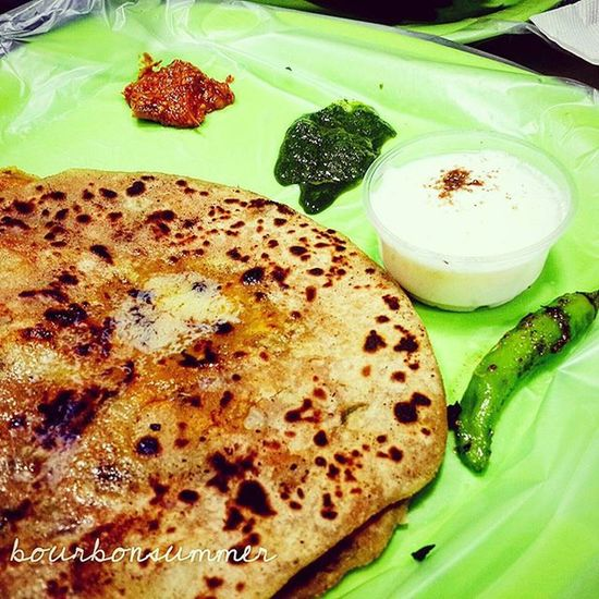 """Aloo pyaaz paratha with garlic chutney, pudina chutney ,pickle and some curd and chilli ;)"" Foodieforlife Foodie Foodporn Indianfood Paratha Foodforfoodies Instafood Foodshare Foodgawker Foodforthesoul Food Chutney Glutton Gluttony Foodbeast Foodblogger Lifeofafoodie Foodstagram Foodspotting Foodstyling Foodphotography Foodpic Bangalorefood Instafood Instalike instafollow"