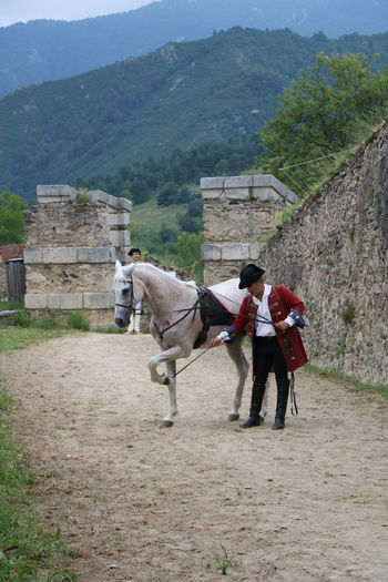Fort Lagarde France Adult Beauty In Nature Day Domestic Animals Horse Mammal Men Mountain Nature One Person Outdoors People
